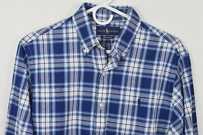 New Ralph Lauren Medium Long Sleeve Plaid Button Down Shirt Indigo Oxford
