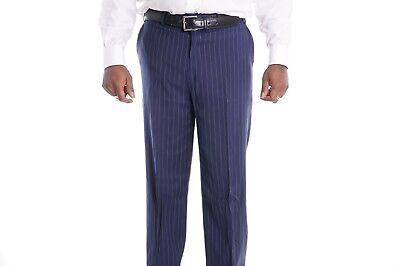 $120 Sean John Classic Fit Blue Chalk Striped Flat Front Pre-hemmed Dress Pants