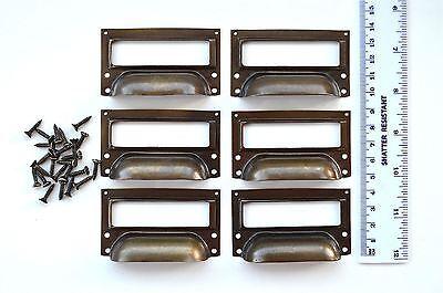A set of 6 vintage aged brass filing cabinet label holder drawer pull handle FD2