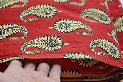 Hand Block Paisley Printed Handmade Cotton Floral Print Fabric 5 Yard Craft