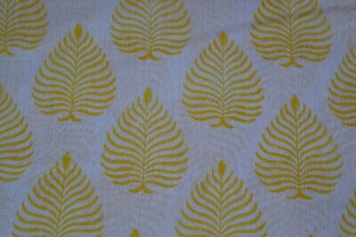 White Indian Cotton Fabric Hand Block Leaf Print Dressmaking Sewing By 2.5 Yard