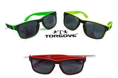 ORIGINAL TORGOVE® 3er Pack Wayfarer Sonnenbrille - Retro Vintage - Rot-Grün-Neon