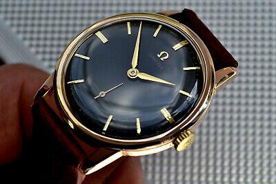 MEN'S OMEGA ROSE GOLD Pltd 267 STRIKING GLOSS BLACK DIAL 1959 VINTAGE RUNS WELL