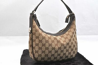 Authentic GUCCI Hand Bag GG Canvas Leather Brown 96016