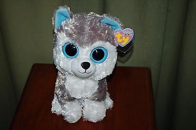 Ty Beanie Boos   Slush The Husky Dog   9  Med Size   Silky Soft Dog    Mwt