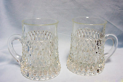 "(2) Press Glass 4.5"" mugs/Goblets CrissCross Diamond Pattern Heavy Clear Glass"