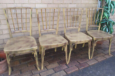 4 X ATTRACTIVE, VINTAGE BVENT CANE, DINING ROOM CHAIRS. SOLID. TOP CONDITION