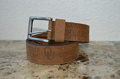 New Oklahoma Sooners Nation Ou Boomer University Embossed Leather Belt Brown