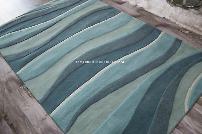Designer Contemporary Abstract Plush Hand Tufted Wool Area Rug **FREE - Plush Wool Area Rugs