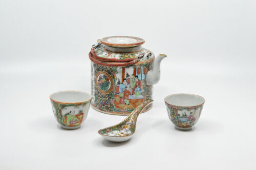 Antique Chinese Rose Medallion Tea Pot with Cups And Spoon🐘