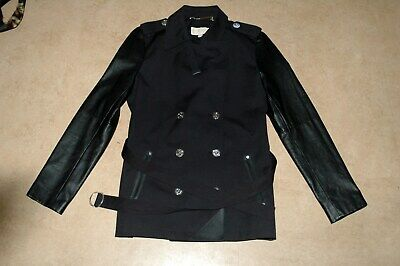 MICHAEL KORS black women's trenchcoat coat jacket L leather sleeves caban belt for sale  Shipping to United States