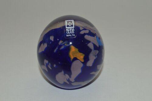 Stunning Vintage Mdina Malta Art Glass Signed Blue Cosmos Paperweight  w Sticker