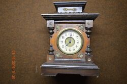 OLD GERMAN WOOD MANTLE CLOCK WITH MUSIC BOX CHIMES *  CLOCKS BRASS MEDALLIONS