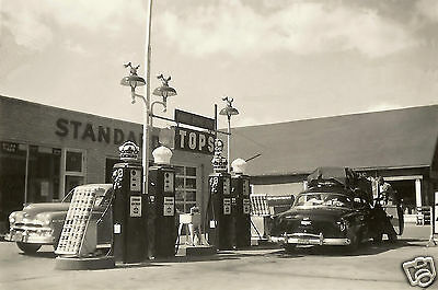 EARLY 50's STANDARD RED WHITE CROWN GAS STATION  PHOTO PUMPS CHEVY PLYMOUTH 5x7](Crown Station)