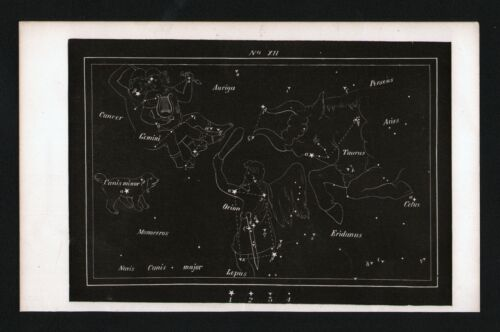 1869 Rolfe & Gillet Star Map Constellation Gemini Orion Taurus Bull Astronomy 12