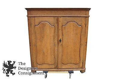 18th Century Antique Primitive English Carved Oak Corner Cupboard China Cabinet , used for sale  Dayton