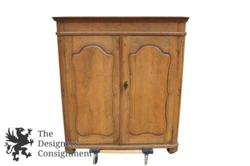 18th Century Antique Primitive English Carved Oak Corner Cupboard China Cabinet