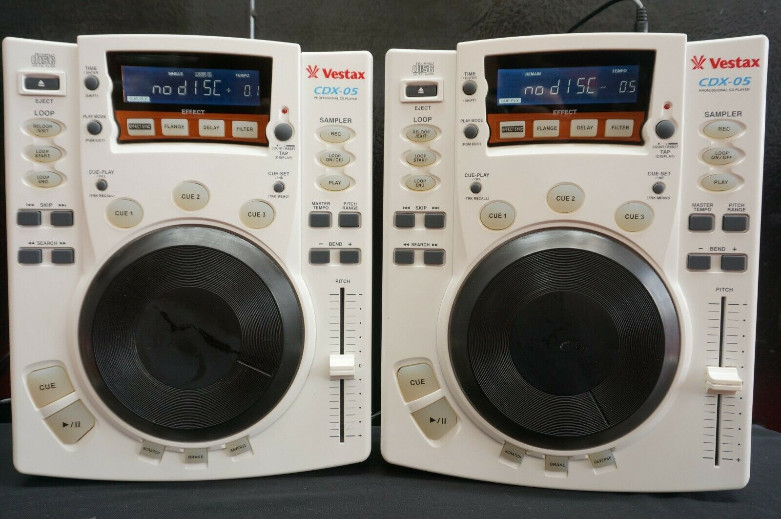 Rare White Vestax CDX-05 Professional Scratch DJ CD Player W/ Effects CDJ