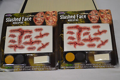LOT OF 2 Slashed Face Makeup Kits Halloween Cosplay Dress Up ](2 Faces Halloween Makeup)