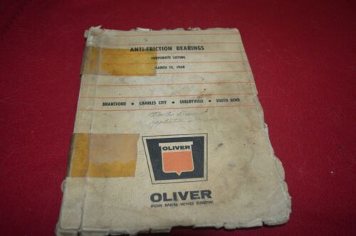 Oliver Tractor Anti-Friction Bearings Listing Manual TBPA