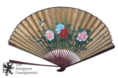 Antique Chinese Wall Hanging Wood and Paper Fan Hand Painted Floral Birds Asian