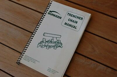 Bobcat Burkeen Trencher Ditcher Plow Chain Spare Parts Manual Book Catalog List