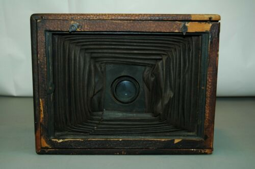Vintage Camera Bellows in Brown Leather Box