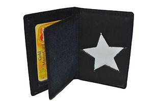 POLICE-ID-BADGE-HOLDER-STAR-NEW-BLACK-GENUINE-LEATHER-RARE-STYLE