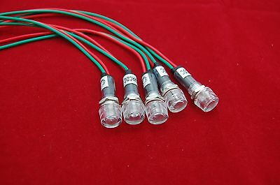 5pcs 120v Ac 10mm White Mini Led Pilot Lights Cylindrical Cap With Wire