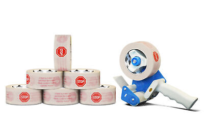 White Stop Sign Printed Packing Tape 3 X 110 Yard 2 Mil 12 Rolls 3 Dispenser