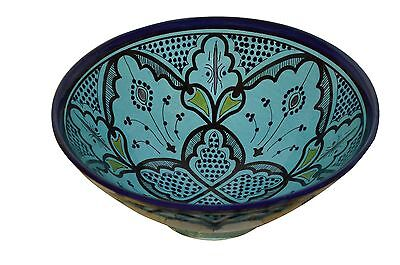 Moroccan Spanish Large glazed ceramic bowl Salad Rice Pasta Soup Stew Aqua 12 in Aqua Salad Bowl