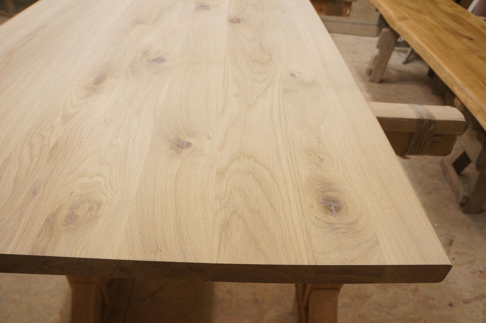 tischplatte arbeitsplatte massivholzplatte esstisch eiche rustikal 40mm roh holz eur 112 10. Black Bedroom Furniture Sets. Home Design Ideas