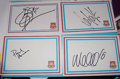 WEST HAM SIGNED DESIGNED AND WHITE CARDS X 19 COLE, REDKNAPP, DAY, HISLOP ETC