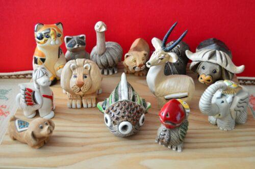 Cat Elephant Lion Horse Ox Animals ARTESANIA Rinconada made Uruguay lot of 13