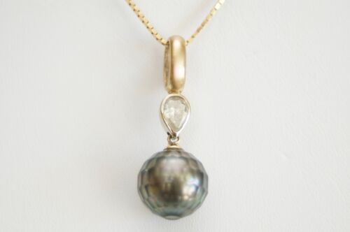 Faceted Black Tahitian Pearl and Pear Diamond 14K White/Yellow Gold Pendant, GIA