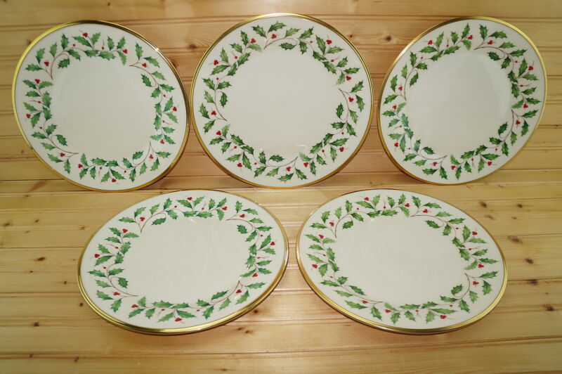 """Lenox Holiday (5) Dinner Plates, 10 3/4"""" -Made in USA"""