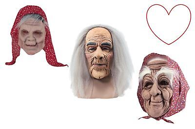 Old People Creepy Mask Latex Grey Hair Wig Fancy Dress Halloween - People Halloween Masks