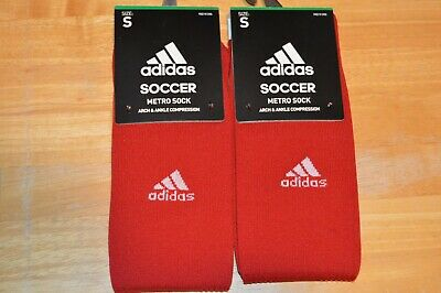 Adidas Metro Sock Soccer arch & Ankle Compression Socks 2 pair Red Size Small