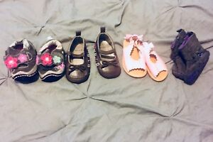 Baby girl shoes ranging from 6-12 months