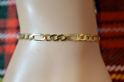 9 ct GOLD second hand figaro ankle bracelet or wrist