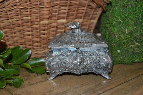 Antique German Art Nouveau Silver Bird Nest Jewelry Trinket Box Marked WMFB