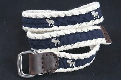 Abercrombie & Fitch Belt Men Cotton Moose Logo D Ring Braided Cotton Leather 28