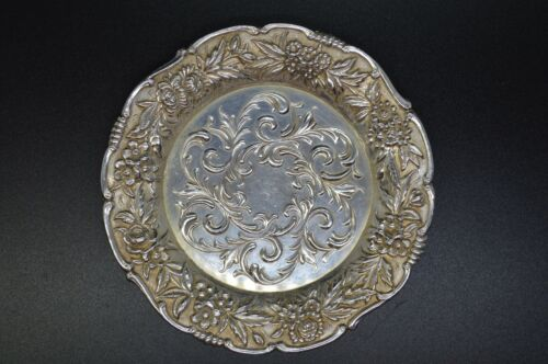 """Kirk Repousse Sterling Silver Large Butter Pat Dish / Coaster 27F - 3 7/8"""""""