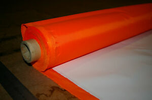 WATERPROOF - HI VIZ ORANGE - PU COATED POLY 6oz MATERIAL - FABRIC - 1M L 150cm W