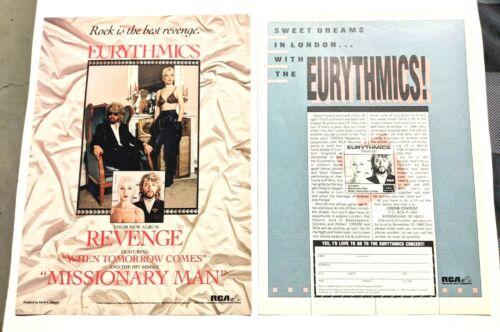 EURYTHMICS / ANNIE LENNOX / 1986 REVENGE LP / ALBUM 2 PAGE MAGAZINE PRINT AD