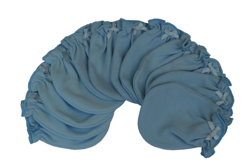 Solid Blue - 6 Pairs Cotton Newborn Baby/infant No Scratch Mittens Gloves