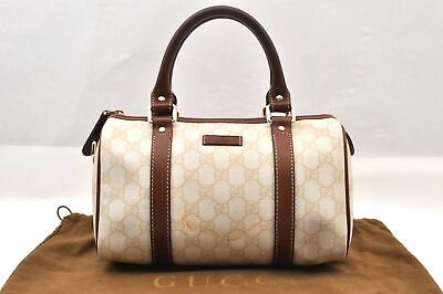 Authentic GUCCI Hand Bag GG PVC Leather Beige 88229