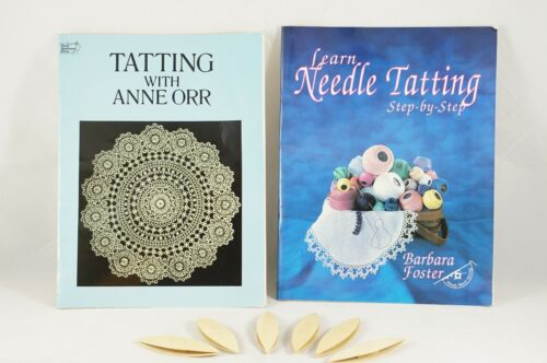 Collection Of 6 Vintage Celluloid Tatting Shuttles & 2 Instruction Books