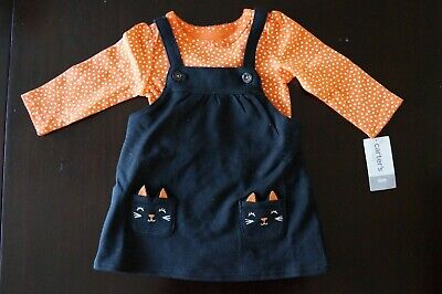 Cat Halloween Outfit (NWT Carters Halloween Black Cat Kitty Jumper Bodysuit 2PC Outfit Baby Girl 6)