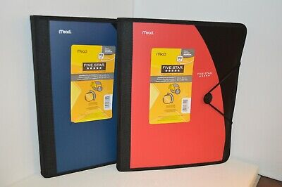 U Pick Mead Five Star Expanding File With Notebook Red Or Blue 5 Pockets 12 X 10